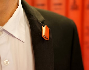 Bright Orange Miniature Book Brooch - Ex Libris Book Jewellery - Geek Chic for Him and Her (Unisex) Boutonniere