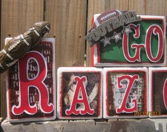 Razorback, Name Blocks, Razorback decor, Razorback wood blocks, football decor, sport decor, Go Hogs, boutique blocks,arkansas