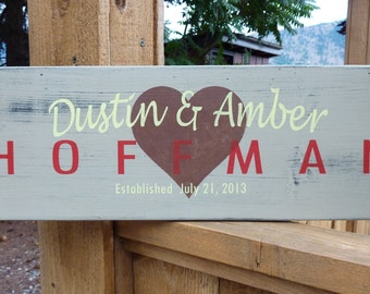 Personalized Family Name Wood Sign - Handpainted and Lightly Distressed - Great gift for Wedding or Anniversary
