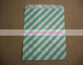 Aqua Green Striped Paper Treat Bags 25 Aqua Green Candy Buffet Party Favor Wedding Favor - 5 x 7 Medium Goodie Bags