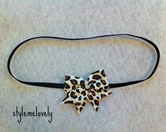 Leopard Baby Girl Bow Elastic Headband
