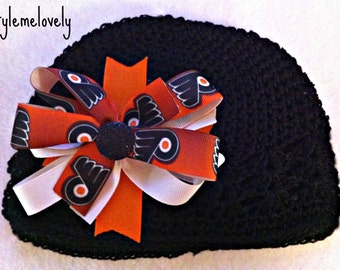 Philadelphia Flyers Baby Girl Boutique Bow Crocheted Hat