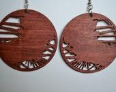 Laser cut basswood earrings (cherry stain), cut from original handcut design