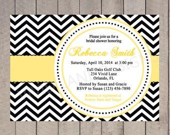 Bridal Shower Invitation - Yellow, Black and White Chevron, Wedding Shower Invite, Red, Hot Pink, Blue, Purple - 076