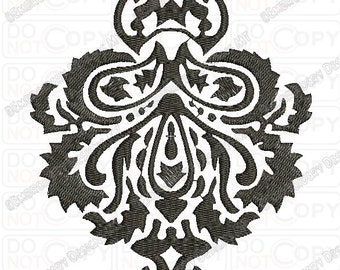 Fancy Beautiful Damask Pattern 3 Full Stitch Embroidery Design in 3x3 4x4 and 5x7 Sizes