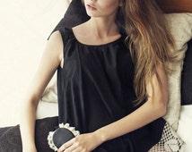 Women Nightwear / Black Cotton Nightgown with a Massive Lace Detail / Women Sleepwear / US Size 2, 4, 6 / Ready to ship Valentine's Present