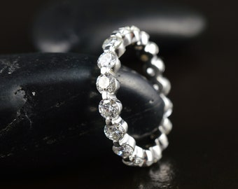 2.25ctw Floating Diamond Eternity Band in 14k Gold, 3.2mm Wide, E-F Color, VS Clarity, Single Shared Prong Setting, Sparkly Band, Brooke W
