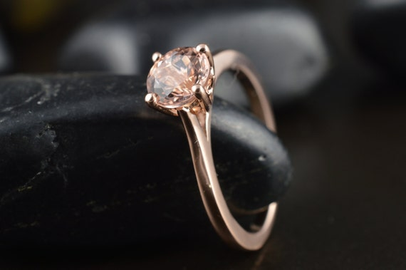 Emma, 6mm Morganite and Rose Gold  Solitaire Diamond Basket
