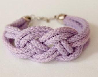 ON SALE! Sailor knot rope bracelet - bridesmaids / friend / bridal shower gift  (light purple)