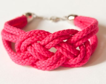 Sailor knot rope bracelet - bridesmaids / friend / bridal shower gift (rose red)