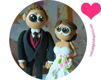 Wedding Cake Topper - CUSTOM cake topper, FUNNY cake topper, Wedding figurines, wedding topper, lovely cake topper, cute cake topper