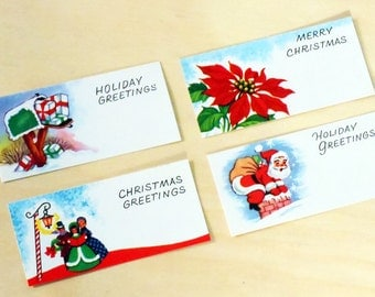 Vintage Flat Holiday & Christmas Greetings Gift Enclosure Cards 4 pack