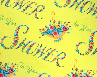 Vintage Yellow Floral For Your Shower Umbrella Gift Wrap One Sheet