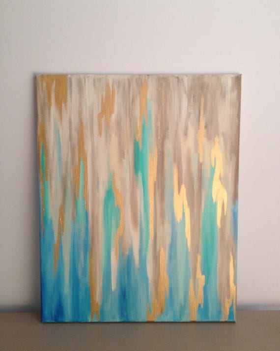 BlueGold Abstract on 16 x 20 Stretched