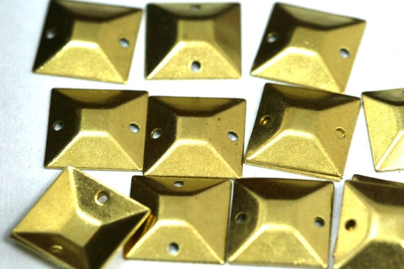 60 Pcs Raw Brass 13 mm Square tag two 2 hole connector Charms ,Findings 571R-36