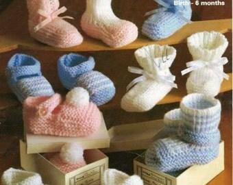 baby bootees vintage knitting pattern PDF