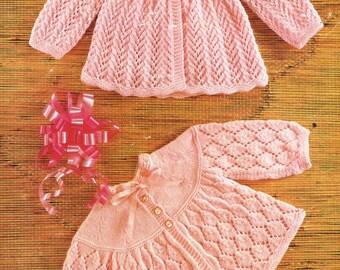 Studley 1028 baby matinee coats  vintage knitting pattern PDF