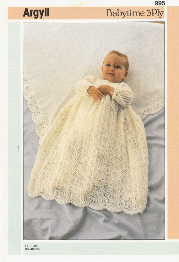 Lacy Baby Christening Dress Vintage Knitting Pattern Pdf
