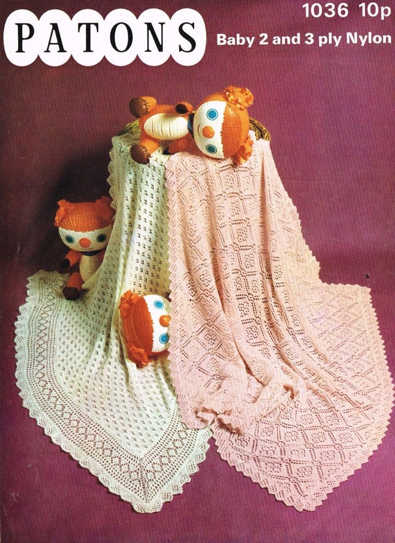 baby shawls square christening vintage baby knitting pattern