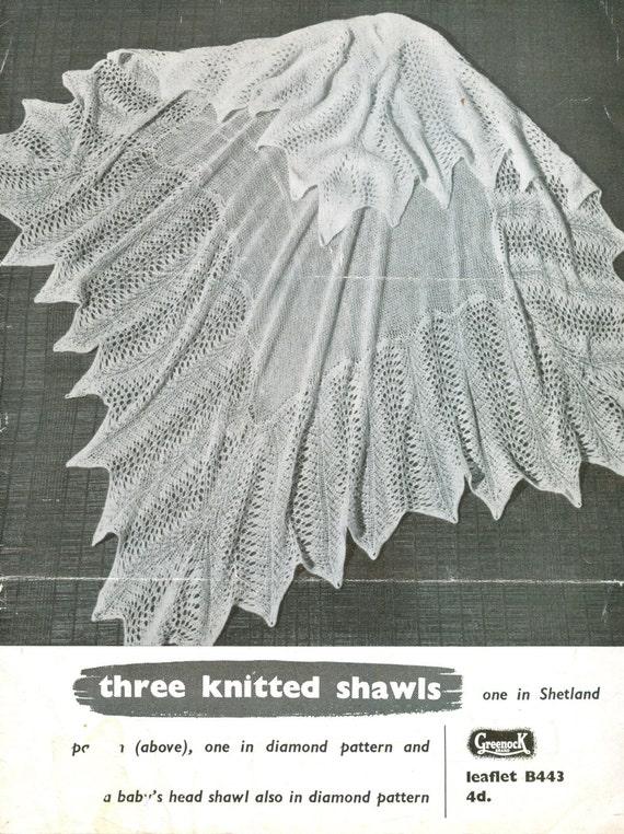Greenock 443 three designs shetland baby shawl vintage