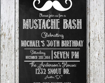 Mustache Bash Invitation, black and white