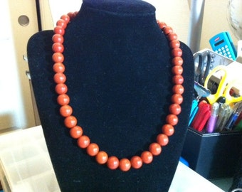 Red jasper necklace finished with hematite beads