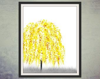 Digital Art, Printable Art, Wall Art, Digital Print, Yellow Willow Tree