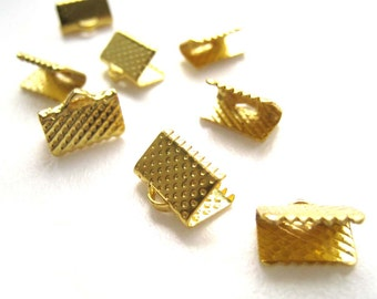 50pcs Gold Rectangular Cord Tip Fastener Clasps Crimp Cord End Clasp Lace Leather End Clasp 10x6mm (CHM-OG-REC1006)
