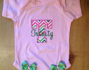 Pink and Green Chevron Initial Baby Bodysuit