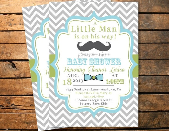bow tie baby shower chevron shower birthday party printable invitation
