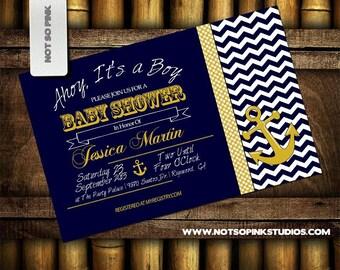 Nautical Baby Shower Invitation -  Chevron Yellow and Blue - Anchor