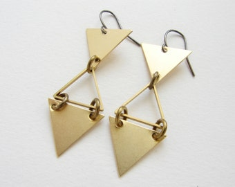 Triangle drop earrings, geometric triangle earrings, modern statement geometric earrings, brass jewelry