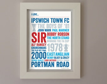 I Love Ipswich Town FC A4 Poster