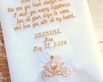 Embroidered Wedding Handkerchief Monogrammed custom BRIDE mom & dad CINDERELLA COACH heirloom personalized hankie gift embroidery