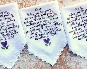 Embroidered Wedding Handkerchief Monogrammed 3 flowergirl handkerchiefs
