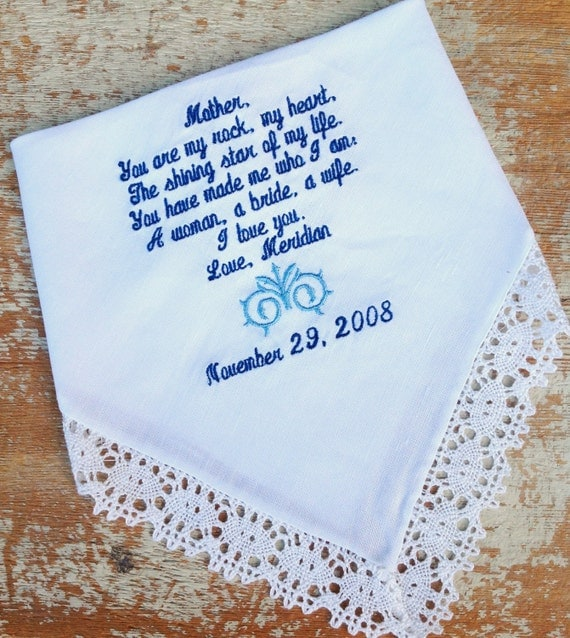 Gift For Dad On Wedding Day Handkerchief : ... BRIDE heirloom handkerchief personalized hankie gift embroidery mom
