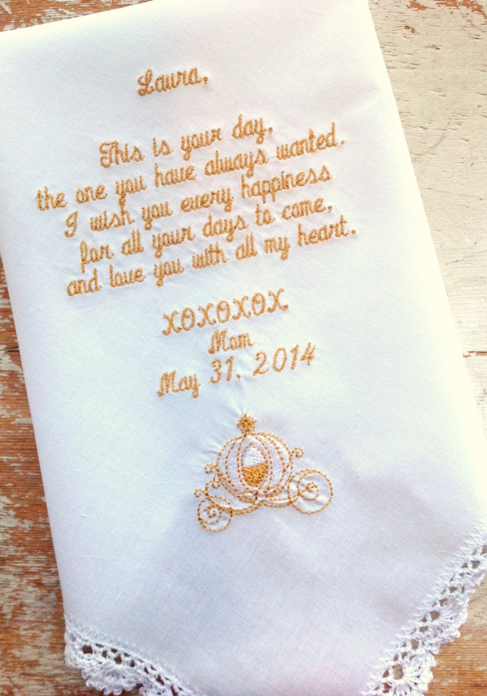 embroidered wedding handkerchief monogrammed custom bride mom