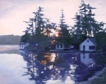 "Giclee Print  ""Morning Glory"", Castle Island Camps, Maine"