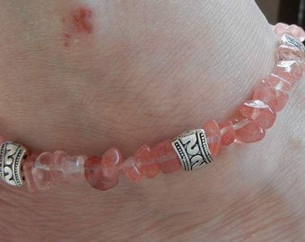 Rose Quartz Anklets (Payal) with Silver Plated Beads