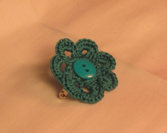 Teal flower pin with teal button