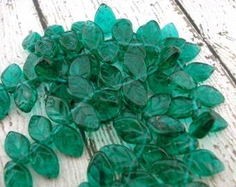 EMERALD Leaves Czech Glass Beads Qty 25 Full Strand Czech Green Leaf Beads 12mm