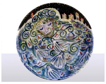 Ceramic Hand painted Salad bowl with  Goddess of the Sea design