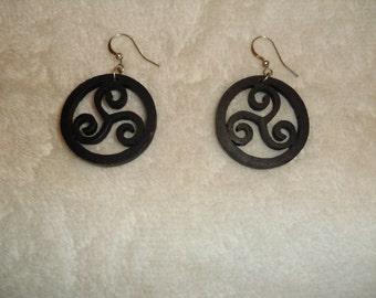 Wooden Black stained swirl circular earrings