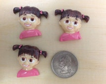 Monsters Inc Boo Inspired Flat Back Resins-Cabochon-Hair Bow Center-3 pieces-Embellishment-Supply-Girls