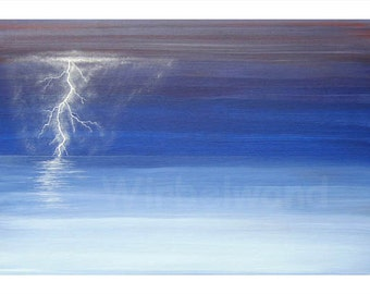 Print of an acrylic painting - Thunder and Lightning at the Sea (17 x 12 inch)