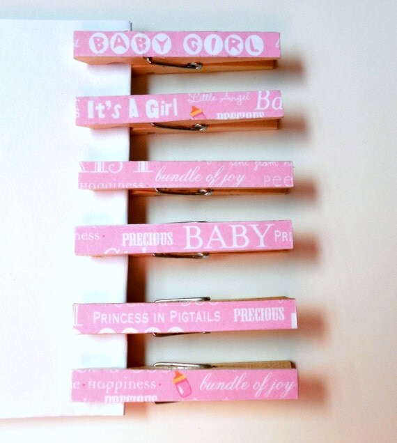 clothespin magnets baby shower favors in pink by simplehomeaccents