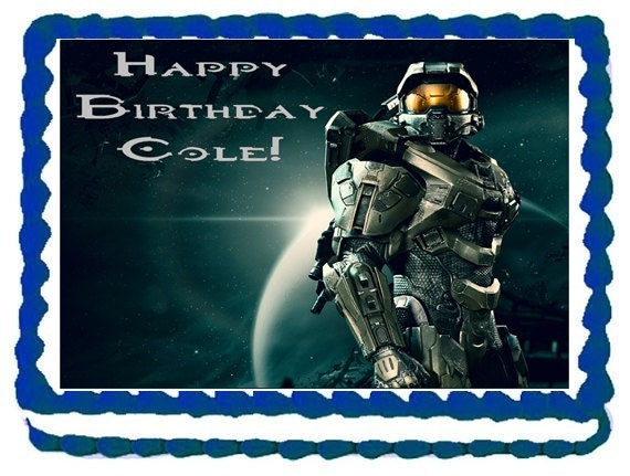Items similar to HALO Edible Image Cake Topper for 1/4 ...