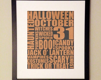 Halloween Typography Print [8x10, 11x14 or 16x20]
