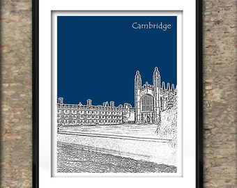 Cambridge Art Print Poster A4 Size Cambridge University Kings chapel and Clare College England