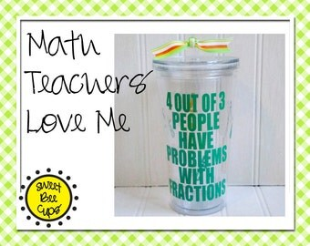 Personalized Acrylic Cup Lg - 4 Out of 3 People Have Problems With Fractions, Mathlete, ARML, NYSML, Math Club, CPA Large 20 oz Cup with Lid